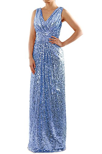 MACloth Sequin Bridesmaid Dress Straps V Neck Ruched Long Formal Evening Gown Sky Blue