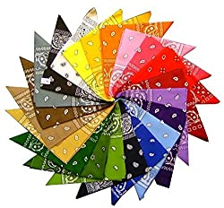 Choice of 19 Assorted Colours of Paisley Bandana for Women Men Girls & Boys Children 100% Cotton Bandanna Handkerchief shawl hankie neckwear Gangster cowboy party wear novelty wear