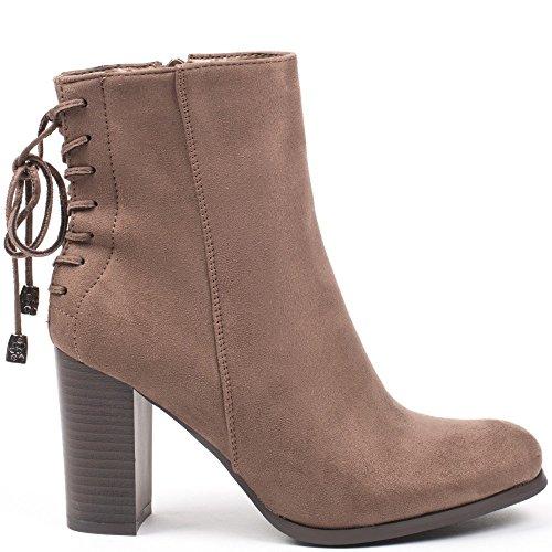Ideal Shoes–Scarponcini alla caviglia effetto camoscio con lacci a l' posteriore Meane Beige