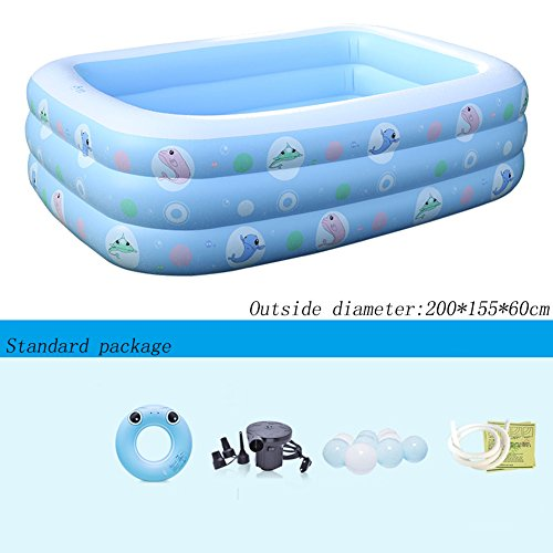 Aufblasbarer Pool Blau 3 Ringe Rechteck Blau Verdicken Haushalt Baby Marine Ball Pool 200 * 155 * 60 cm ( Farbe : Standard package )