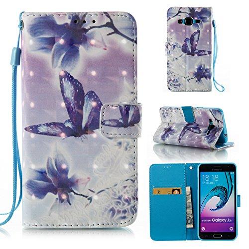 Samsung J3 Hülle , Tasche für Galaxy J3 Premium 3D Blume Geldbeutel Kunstleder Flip Taschenhülle Handytasche Rückseite Schale für Samsung Galaxy J3 (2016) (5.0 pouces) Bling Magnetverschluss Kartenfäc Schmetterling