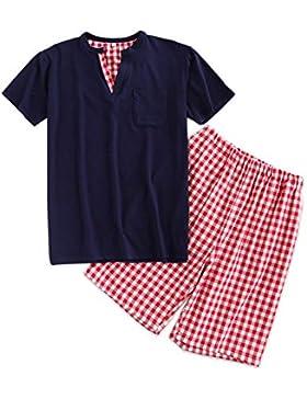 Meaeo Sexy Pijama Corto De Algodón 100% Establece Hombres Pijamas Simples De Cuadros De Verano para Hombre Manga...