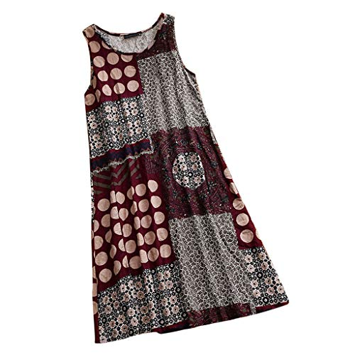 Yvelands Damen T-Shirt Weste Print Kausal ärmelloses Maxikleid Sling Sommerkleid Tank ()