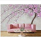 WH-PORP 3D Tapete elegante lila Baum Blume, Wohnzimmer TV Hintergrund Sofa Wand Schlafzimmer Restaurant Wandbild-200cmX140cm