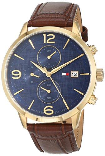 Tommy Hilfiger Herren Multi Zifferblatt Quarz Uhr mit Leder Armband 1710359 (Reloj Tommy Hilfiger Männer)