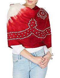 Maroonred crème Châles main pour les femmes, de laine Tie Dye De Inde Cadeaux d'anniversaire 36x80 pouces