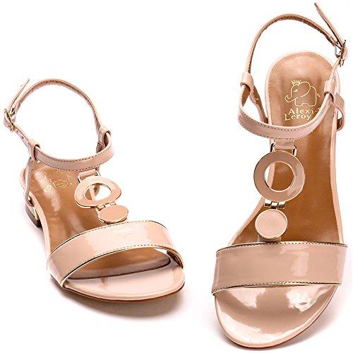 Alexis Leroy Chaussures avec un talon carré Sandales Bride arrière femme Rose