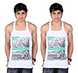 White Moon Printed Vest - Pack of 2 (Car...
