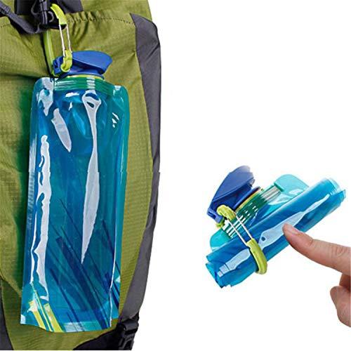 BABIFIS Tragbare 1L Outdoor Faltbare Falten Kunststoff Licht Trinkwasser Flasche Tasche Blase Sport Camping Wandern Picknick -