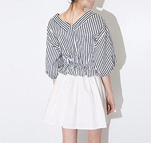 QIYUN.Z Femmes Marine Tour Taille-Svelte Splicing Poussees Jupe Manches Lantern Bleu and Blanc striped