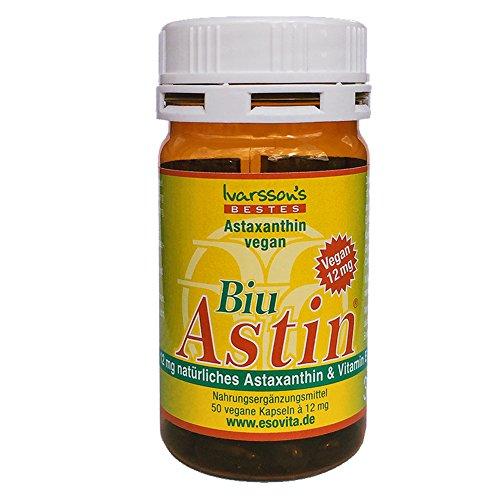 Astaxanthin - aus Hawaii - BiuAstin vegan - 50 Kaps. mit 12 mg natürlichem Astaxanthin - Das Original: Ivarsson's BiuAstin