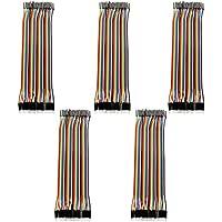 Akozon Conectores de Alambre de Puente Dupont 5pcs Colorido 20cm Jumper Wires 40pin Macho Hembra para Breadboard Arduino