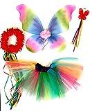 Tante Tina - Disfraz de Hadas Mariposa - Alas, Falda tutú, Varita mágica y Diadema - Rosa Multicolor con Diadema