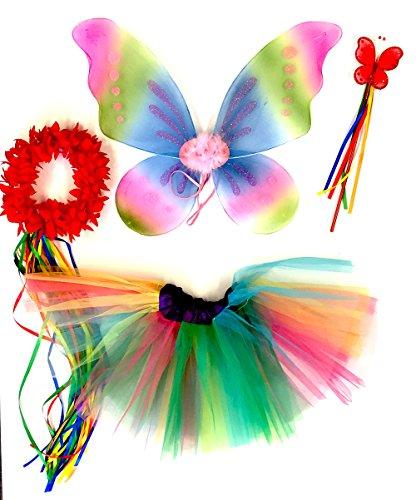 Tante Tina - Schmetterling Kostüm für Mädchen - 4-teiliges Set - Feenflügel / Schmetterlingsflügel Verkleiden - Pink/Gelb/Blau Rainbow