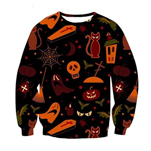 SHE.White Halloween 3D Kürbis Drucken Pullover,Herren Damen Lustig Terror Langarm Hoodie Gothic Sweatshirt Unisex Party Karneval Jacke Vintage Outwear S-5XL -