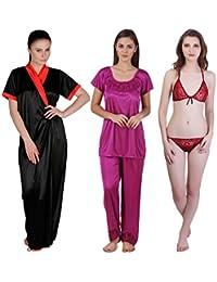 Freely Satin Full Robe, Nightsuit & Lingerie Set - Combo of 3