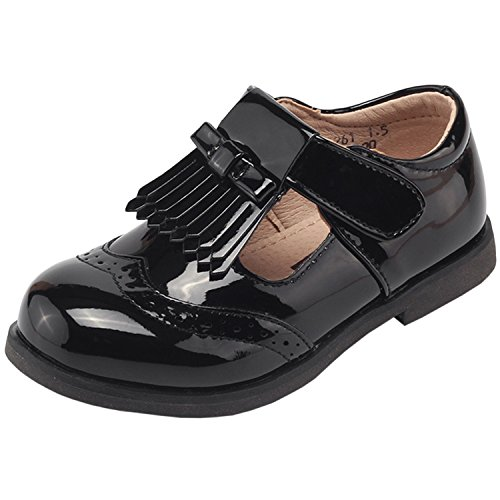 Oasap Gril's Velcro Strap Oxford Shoes with Tassel Black