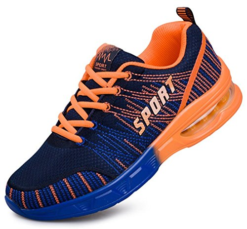 Men's Mesh Breathable Lace Up Outdoor Athletic Walking Shoes Orange