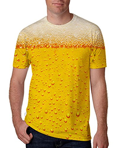 Chicolife Unisex Casual 3D Bier Muster Printed Kurzarm T-Shirts Top Tees Orange