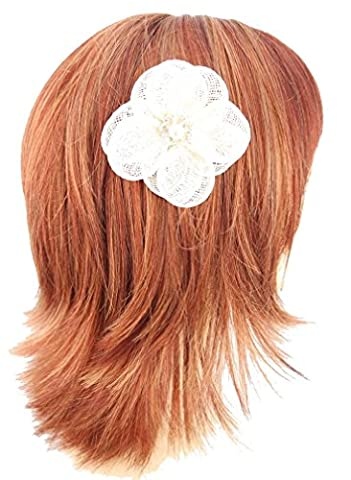 Cream Sinamay Flower with centre pearl and rhinestone decoration hair fascinator finished on sprung clip