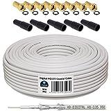 130db Câble coaxial HB Kit Digital SAT Câble avec fiches plaqué or et protection Douilles, câble coaxial pour satellite, blindage 130dB, Meilleur réception pour HDTV, 3D, Full HD, ultra HD, HD 4K2k, uhdtv