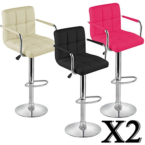 Tinxs 2pcs Executive PU Leather Swivel Chair Gas Lift for home office Breakfast Dinner Bar Stool-- Three Colors to Choose from(Black/White/ Rose Pink) (White)