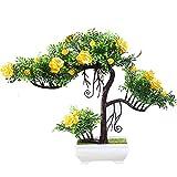Flikool Mini Simulation Künstliche Pflanzen mit Pot Künstliche Blumen mit Topf Gefälschte Künstliche Bäume Topfpflanzen Bonsai Kunstblumen Kunstpflanzen Ornaments Dekorationen - Gelb