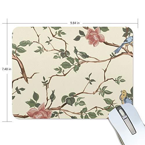 Mauspad MalpLENA Vogel in Blume Premium texturiert Mauspad Anti-Rutsch-Gummi Unterlage Mauspad für Laptop, Computer und PC -