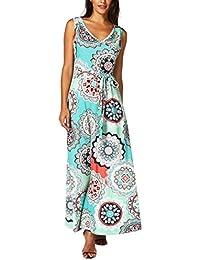 aa87a8d37081 Honestyi Damen Maxikleider Sommerkleider Vintage Boho Blumen Kleid  Neckholder Printkleider Partykleider Strandkleider Minikleid Große…