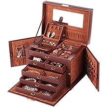 Rowling Caja joyero de símil cuero con cajita de viaje espejo cerradura llave anilleros cajoneras solapas laterales ZG245