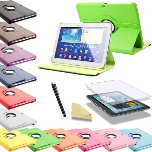 3in1 SET 360° Tab3 10.1 Schutzhülle + Folie + Pen Samsung Galaxy Tab 3 P5200 P5210 P5220 Tasche Etui (Grün)