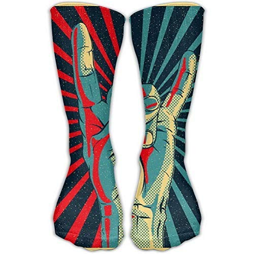 Girls Classics One Size Warm Winter Knee High Socks Men's Rock N Roll Long Tube Stockings for Athletic Soccer