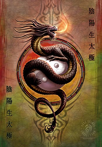 Heart Rock Licensed Flagge Anne Stokes – Yin Yang Protector, Stoff, mehrfarbig, 110 x 75 x 0,1 cm (Yin-yang-stoff)