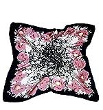 HESG Echarpe en soie La mode des femmes Foulard Grand satin Foulard Écharpes carrées Châle 90*90CM (Black Pink Floral)
