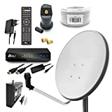 Digital Camping Sat Anlage 60 cm Spiegel inkl. ARLI AH1 HD Receiver + Single LNB + 10m Kabel (Lichtgrau / Weiss)