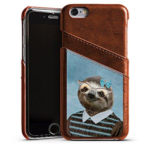 Apple iPhone 4 Housse Étui Silicone Coque Protection Paresseux Paresseux Lunettes Étui en cuir marron