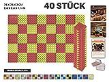 Acepunch 40 Stück ROT UND GELB Eierkarton Gewellter Akustikschaum 2 Farbe DIY Entwurf Mit Freiem Klebestreifen 25 x 25 x 3 cm AP1052