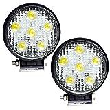 FUSKANG 2Pcs 15W LED Car Light, Lampes Rondes Phares De Voiture Feux De Route Hors Route / Camion / Bateau Lumières De Brouillard Imperméables Lumière De Lumière Spot Spot Noir ( Size : 128*110*45mm )