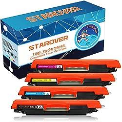 STAROVER Cartuchos de tóner compatibles de color de reemplazo para 126A / CE310A CE311A CE312A CE313A para HP Colour LaserJet Pro CP1025 CP1025NW CP1020 / HP LaserJet Pro 100 Color MFP M175 M175A M175NW / HP TopShot LaserJet Pro M275 M275A M275NW Impresora - 1 Negro, 1 Cian, 1 Magenta, 1 Amarillo