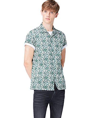 FIND Herren Regulär Geschnittenes Kurzarm-Hawaii-Hemd Grün (Green Botanical)