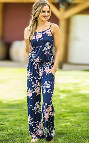 ECOWISH Jumpsuit Damen Elegant Sommer Hosenanzug Blumenmuster Ärmellos Overall Romper Blau
