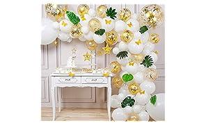 PartyWoo Ballon Blanc Confettis Or, Ballons Blanc, Ballons Blancs, Ballon Confettis Or, Ballon Or Blanc, Kit Ballon Outil, Papillon en Papier, Étoile pour Bapteme Blanc, Decoration Fete Blanc et Or