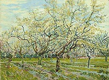 Wieco Art–The White Orchard por Van Gogh famosos pinturas al óleo reproducción estirada y enmarcado Giclée de paisajes, obras de arte moderno lienzo impresiones verde fotos sobre Lienzo para el hogar decoración van-0014