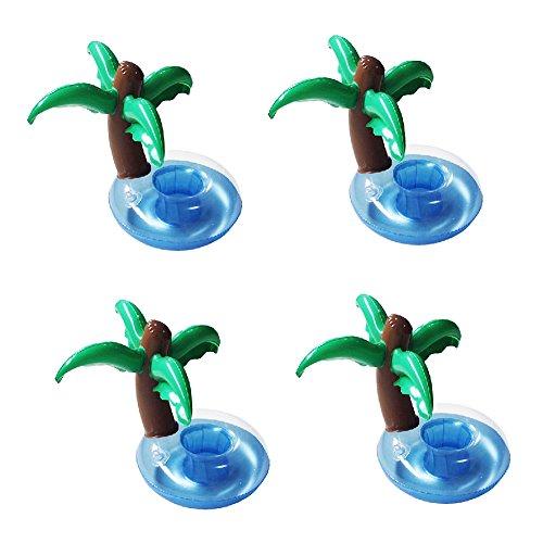 4PCS Porte-Gobelet Porte-Boisson Cocotier Mini Bateaux Gonglable Flotant Jeu Jouet de Bain Piscine Mer