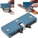 VNEIRW - Herramienta para quitar la espalda del reloj, cambio de batería, ajustable, tapa de la carcasa trasera, parte inferior, llave de tornillo, abridor de reloj, kit de reparación de relojes, herramientas para relojero, azul