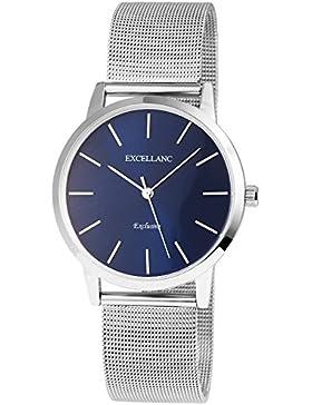 Excellanc Premium Meshband Armbanduhr Analog Damenuhr in Farbe Silber / Blau