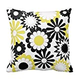 vintage cap Yellow, Black & White Flowers Cotton Linen Decorative Throw Pillow Case Cushion Cover 18'x 18' Inch b:2