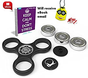 FabQuality Spin Anxiety AttentionToy Toy With BONUS eBook (email) + Minion Key Chain - Perfect For ADD, ADHD Relieves Stress, Autism And Anxiety And Relax for Children and Adults BONUS EBOOK is sent by email by FabQuality