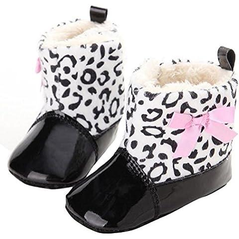 Koly Bebé infantil del niño zapatos del pesebre la nieve suavemente único Prewalker (6 ~ 12 meses, Negro)