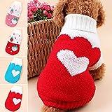 Danigrefinb Pet Supplies Dog Maglione Cane Maglione Autunno Inverno Caldo Maglia Love Heart Strawberry Lapel Pet Abbigliamento